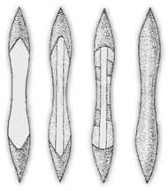 Технологическая схема лезвий мечей: 1-наварка лезвия на железную основу: 2-наварка лезвия на многослойную основу; 3 – наварка лезвия на узорчатую (дамаскированную) основу; 4 – цементация лезвия.
