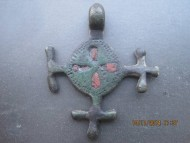 Крестовидная подвеска с эмалью ранних славян