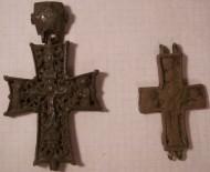 1. Энколпион 15 века Распятие Христово - Святой Николай. 2. створка с Богородицей Агиосоритиссой от энколпиона 14-15вв
