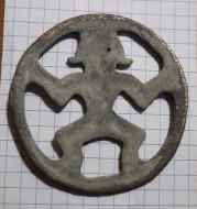 Бронзовая  пришивная бляха «пляшущий человек», заключенный в круг