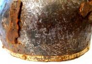 Шлем, найденныq при раскопках селища Игнатьевское