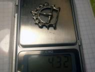 Древнерусская серебряная ременная пряжка, вес 4,32 грамма