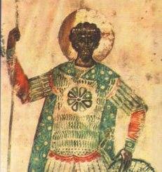 Святой Федор Стратилат. Миниатюра из Федоровского Евангелия 1321-1327гг.