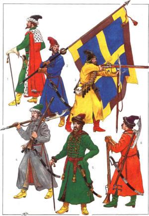 Чины московских приказов после 1672 г. (по Э.Пальмквисту): 1 Голова 1-го приказа Егор Петрович Лутохин; 2 Знаменщик с сотенным знаменем третьего приказа; 3 Стрелец 6-го приказа; 4 Стрелец 13-го приказа в походном («носильном») кафтане; 5 Начальный человек (пятисотский или сотник) 3-го приказа; 6 Стрелец 8-го приказа.