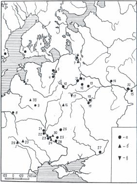 карта распространения топоров-амулетов