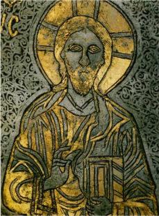 Благословляющий Христос Вседержитель - деталь отделки шлема известного как «Шапка с Деисуом»