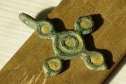Бронзовый крестик Киевской Руси украшенный эмалью