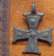 Крест рыарский Киевской Руси двухсторонний, оловянистый сплав