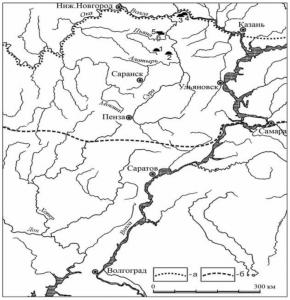 Карта-схема расположения памятников писеральско-андреевского типа