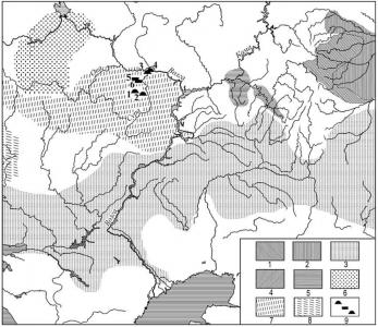 Карта-схема археологической ситуации в Восточной Европе I-II вв. н.э. и локализация памятников писеральско-андреевского типа