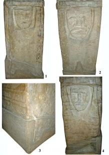 Збручское изваяние (нижний ярус и основание):  1 - сторона В; 2 - сторона А; 3 - стороны B и D; 4 - сторона С.