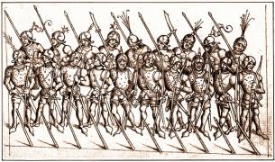 Лучники, копейщики алебардисты, конец 15 века