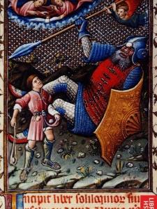 Давид и Голиаф - миниатюра псалтыря Альфонсо V Арагонского, 1442 год