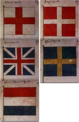 знамена северных европейских государств Англии, Голландии, Дании и Швеции
