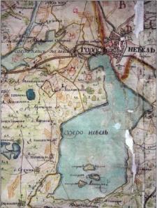 Фрагмент карты 1785 г. с изображением Невеля и Невельского озера с окрестностями.