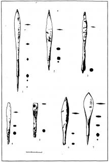 Ланцетовидные наконечники стрел: 1-5 – тип 62 (вар.2); 6 – тип 62 (вар. 1); 7 – тип 63