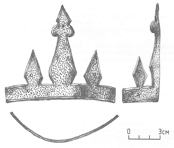 Налобный трезубец от шлема. Троицкий раскоп (Великий Новгород, Россия)