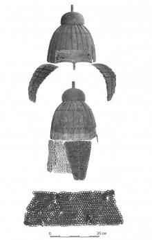 Фотография шлема из Хомутовского района до реставрации.