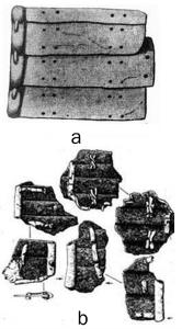 а) Пластины доспеха, обнаруженного в Береле, по В. Радлову, Ь) обхваченные кожей ламеллярные пластины Усть-Ишима