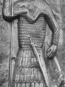 св. Георгий в линейном ламелляре с двойными заклепками на иконе из Мравалдзали