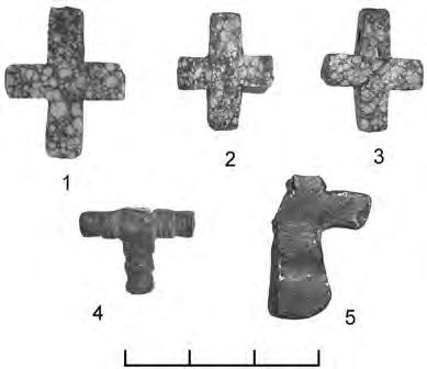 Кресты-тельники каменные: 1 — Очеретяная Гора, 2, 4 — Шумлай; 3, 5 — Лесковое