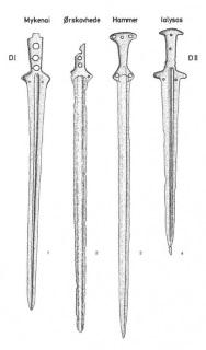 Мечи с языкообразной площадкой для крепления рукояти одного типа, распространенные на территории между Данией и Эгейским регионом