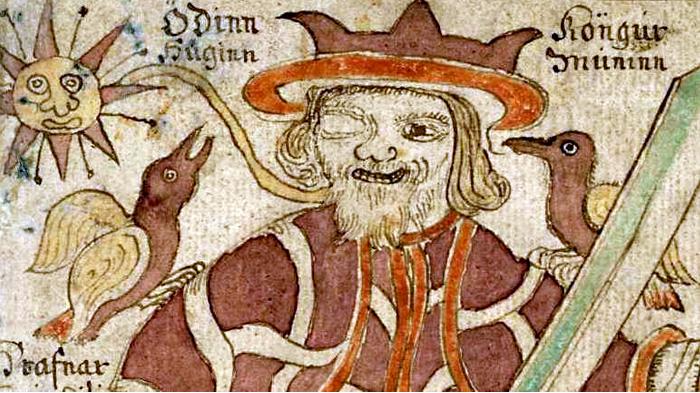 Вороны Хугин и Мунин на плечах Одина. Иллюстрация в исландской книге 18 века.