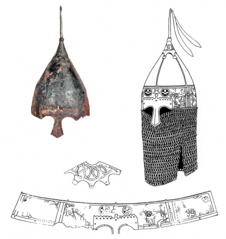 Шлем из Таганчи: фото; прорисовка узора; реконструкция шлема (рисунок А.Е. Негина)