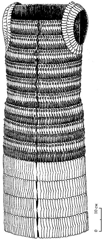 Графическая реконструкция ламеллярного доспеха из могильника Восточномалайский II