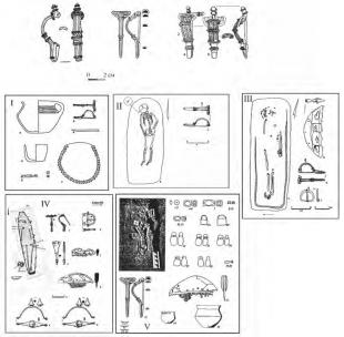 Фибулы типа Грудек-149 и фибулы с уникальным зерненым декором: 1 – кобылля; 2 – ружичанка/п. 4; 3 – Херсонеса. I – слюсегард/п. 70; II – Гродек/149; III – Гродек/ п. 44; IV – Веклице/п. 82; V – Ружичанка/п. 4
