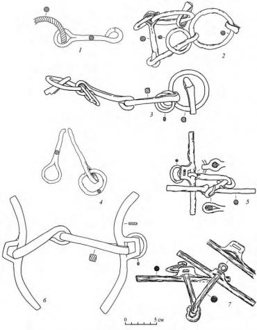 Предметы снаряжения верхового коня из Чулковского могильника. 1–7 – удила