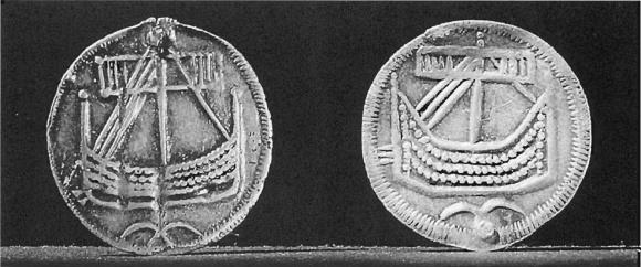 Монеты IX века с изображением ладей