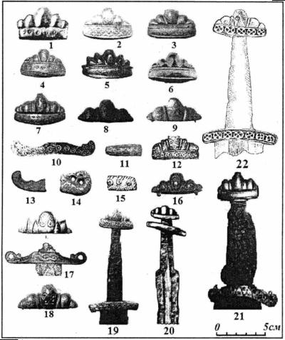Наверщя руків'їв мечів (1-18) а також фрагменти мечів куршського типу з території Латвії, Естонії та Білорусі (19-21) – (за А. Томсоном та В. Казакявічусом): 22 – (за Р. Широуховим)