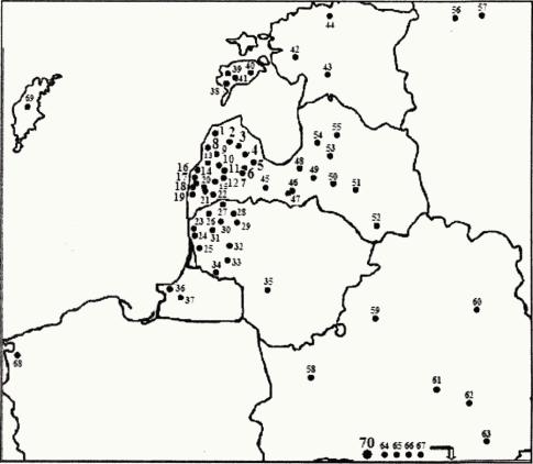 Поширення мечів типу ТІ куршський на території Прибалтики та Русі (за А. Томсоном з доповненням авторів).