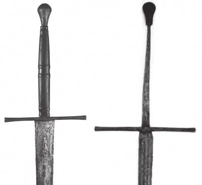 а - меч, последняя треть XV в., случайная находка; б - меч, найденный в реке Эльба, близ г. Гамбурга, ок. 1515-25 гг.