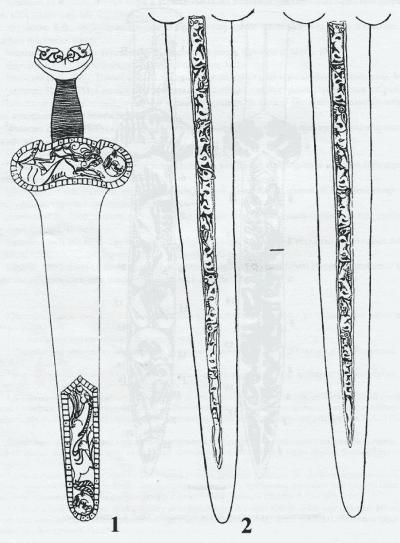 Изображение ножен (I) и лезвий акинака (2) из кургана Иссык