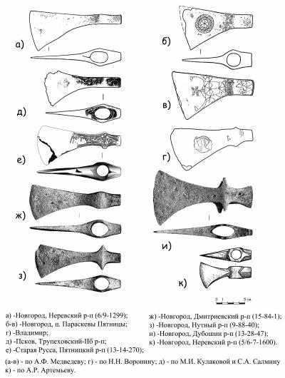 Топоры-чеканы XIV-XV вв. из древнерусских городов.