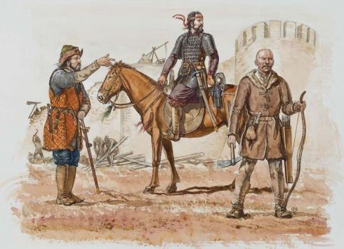 1 - Булгарский лидер 10 век. 2 - булгарский кавалерист, IX-X вв. 3 - Пеший лучник зависимого племени, 10-й век