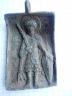 Бронзовая иконка-привеска Святой Фёдор - воин