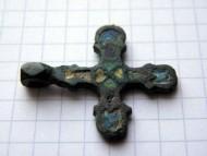 Крестик древнерусский c разноцветной эмалью