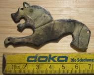 Серебряная позололоченая древнеславянская бляшка «Волк»