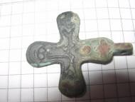 Двусторонний бронзовый крест с Распятием Христовым
