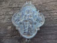 Квадрифолийный энколпион Распятие Христово, ос Богородица тронная. 12 век