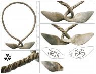 Женская проволочная серебряная шейная гривна с сильно расширенными и загнутыми уплощёнными концами, 9-11. Концы круговым орнаментом рунами и свастикой