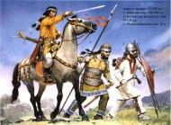 Авары и болгары (VI-VIII вв.): 1 - знатный аварский воин 7-8  век; 2 - балканский булгарский воин 6-7 век; 3 - воин южных славян 6 век.