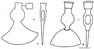 Рис. 48. Боевые топоры Х-ХIII вв.: 1 - N 10; 2 - N 9