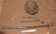Комплекс Хазарского воина: палаш, шлем, пика, топорик, кистень, поясной набор