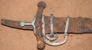 рукоять хазарской прямой сабли (палаша) украшенная серебром, серебряный прибор устья ножен