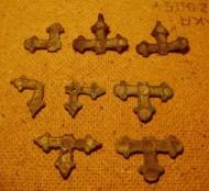 Поломанные бронзовые крестики с эмалями, период Киевской Руси