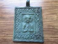 Большая бронзовая икона-привеска со Спасом Эммануилом XIII-XVI вв